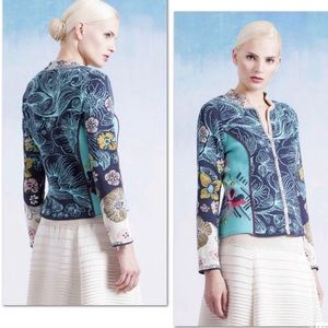 Ivko Floral Sweater Jacket w/ Embroidery Size L